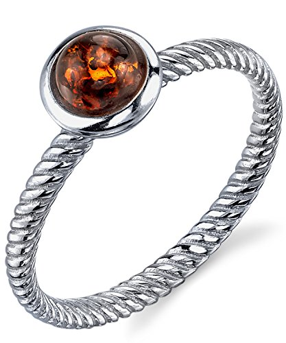 Sterling Silver Baltic Amber Ring with Cognac Color Cabochon and Twisted Band Design 6