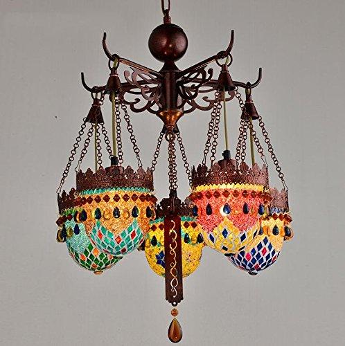 - TUNBG American Retro Southeast Asia Mediterranean Bohemian Living Room Lamp Bedroom Restaurant Bronze Color Chandelier, 30w