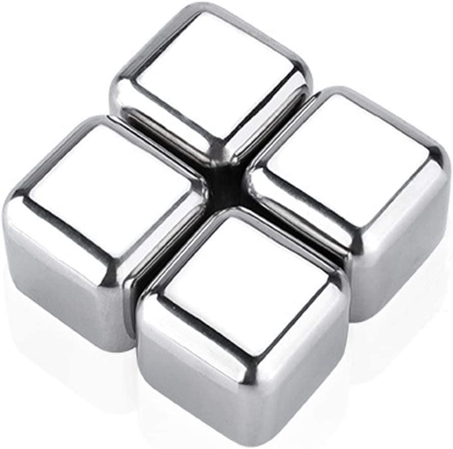 Ice Cubes Reusable Stainless Steel for Coolers -Whiskey Stones -Chilling Rocks for Wine Drinkers- Coffee Ice Cube,Beverage Chilling cubes for Vodka, Liqueurs, Juice Soda, stainless ice cube,4PCS