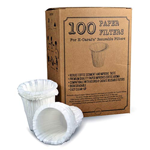 canFly Premium Disposable Paper Filters for K-Carafe Reusable Coffee Filter for 4-CUP (100)