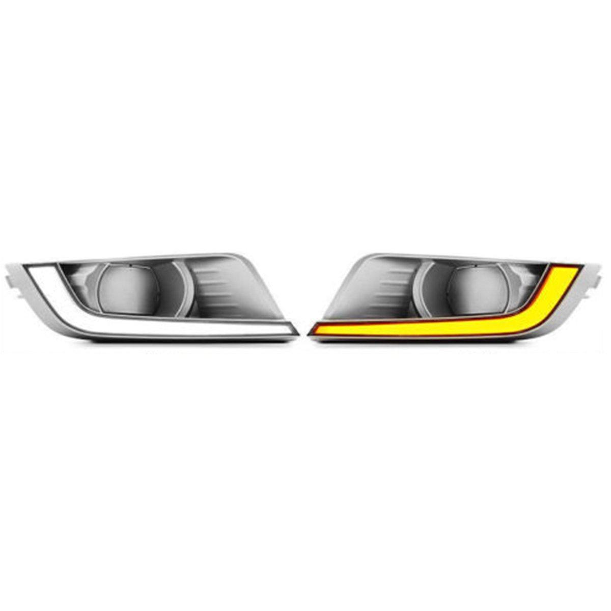 WCHAOEN Pair Dual-color COB LED Car Daytime Running Lights Fog Lamp for Ford Ranger T6 MK2 2016-2018 New car light
