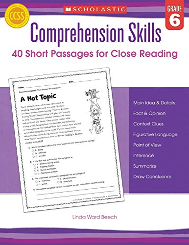Comprehension Skills: Short Passages for Close Reading: Grade 6