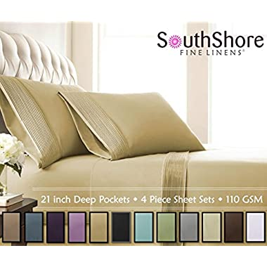 Southshore Fine Linens® - 4 Piece - Extra Deep Pocket Pleated Sheet Set , KING , GOLD
