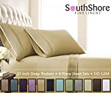 Southshore Fine Linens® - 4 Piece - Extra Deep Pocket Pleated Sheet Set , KING , GOLD offers