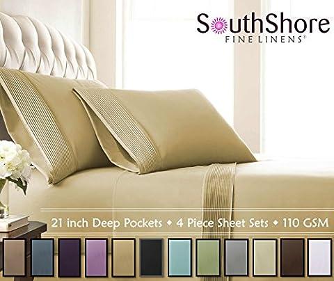 Southshore Fine Linens® - 5 Piece - Extra Deep Pocket Pleated Sheet Set , SPLIT KING , GOLD (Split King Sheet Deep Pocket)