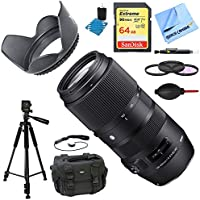 Sigma 100-400mm F5-6.3 DG OS HSM Telephoto Lens (Sigma) Deluxe Accessory Bundle includes Lens, 64GB SD Memory Card, Tripod, 58mm Filter Kit, Lens Hood, Bag, Cleaning Kit, Beach Camera Cloth & More