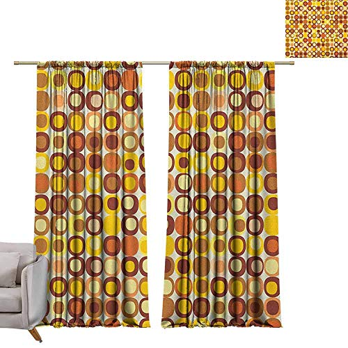 berrly Grommet Top Drapes Mid Century,Kitsch and Retro Styled Round Edged Square Pattern in Old Earth Tones, Brown Yellow Coral W84 x L96 Living Room Drapes