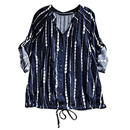 UONQD Women Striped Drawstring Lace Up Long Sleeve Blouse Shirt Top