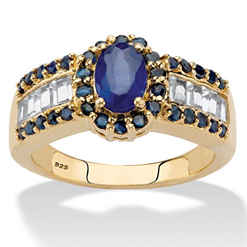 14K Yellow Gold over Sterling Silver Oval Cut Blue Genuine Sapphire and Topaz Halo Ring Size (Oval Ceylon Sapphire)