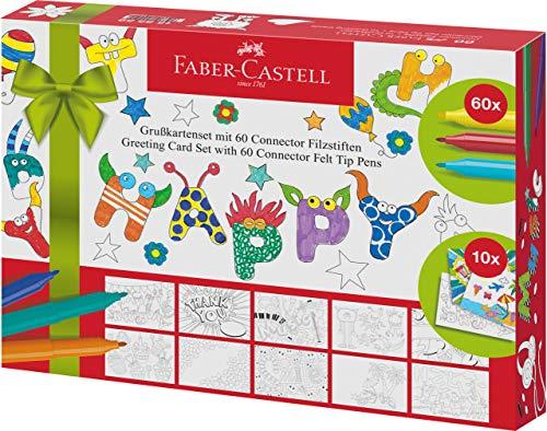 Grußkarten Set 60er Connector Filzstift (Faber Castell Connector Pen And Pencil Set)