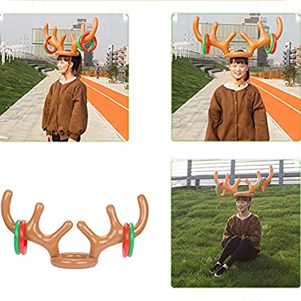 e553ddf6614fc Christmas Hats - Santa Funny Reindeer Antler Christmas Toy Inflatable Hat  Ring Toss Holiday Party Game
