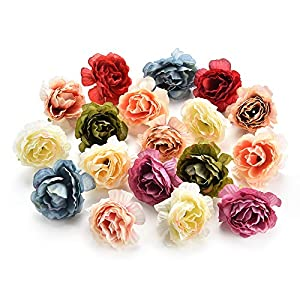 Csoudna Fake Flowers Heads for Decoration Crafts Bulk Peony Flower Artificial Flower Heads Decorative Scrapbooking Cherry Blossoms Home Wedding Birthday Party Decoration Supplies Decor 30PCS 4cm 42