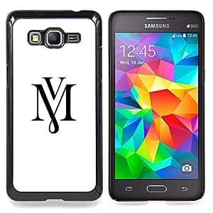 """Mv Letras Iniciales Caligrafía texto blanco"""" - Metal de aluminio y de plástico duro Caja del teléfono - Negro - Samsung Galaxy Grand Prime G530F G530FZ G530Y G530H G530FZ/DS"""