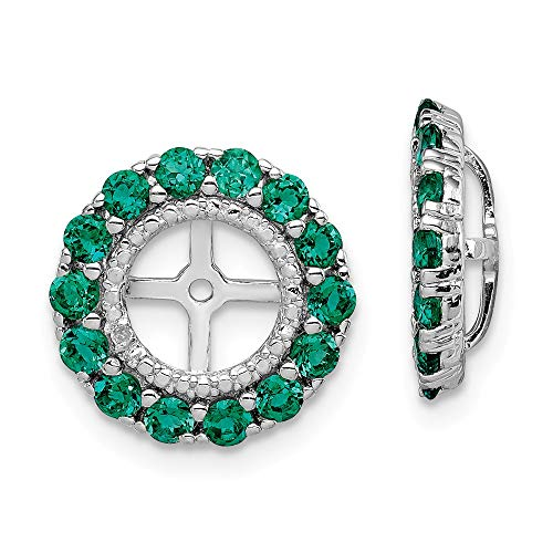 FB Jewels Sterling Silver Rhodium Diamond & Created Emerald Earring - Emerald Womens Jacket