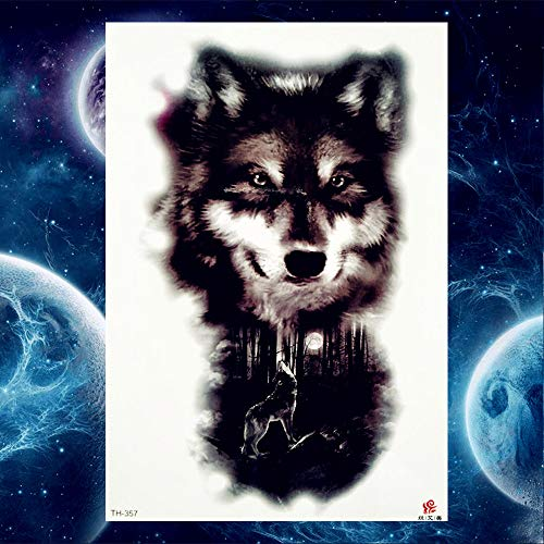GVDTYKJF Tattoos Sticker 25 Style Tattoos Stickers Black Chest Arm Wolf Fake Tattoos Woflash Dog Husky Tiger Waterproof Tattoos Black Rose -