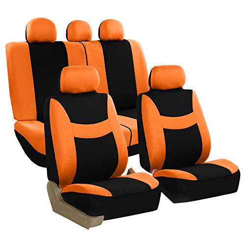 Seat Car Orange Cover - FH Group Stylish Cloth (Airbag & Split Ready) Full Set Car Seat Covers, Orange/Black- Fit Most Car, Truck, SUV Van