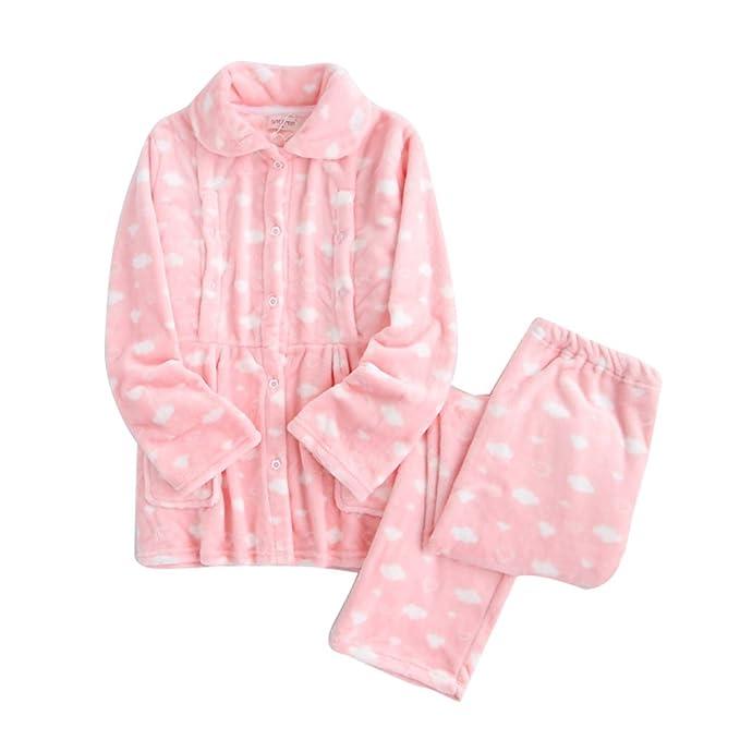 Franela Mujer Lactancia Mujeres embarazadas Y amamantando Engrosamiento Robe, Lindo Mangas largas Pijama Establecer