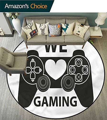 (Gamer Round Area Rugs Super Soft Living Room,We Love Gaming Phrase Heart Non Skid Nursery Kids Area Rug for Bedroom Machine Washable Diameter-39)