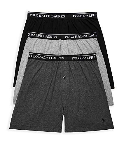 (Polo Ralph Lauren Knit Boxer Shorts with Moisture Wicking 100% Cotton - 3 Pack (L, Grey Asst))