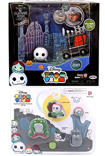 Deadly Nightmare Before Christmas Set Bundle Jack Skellington Tsum Tsum Character Pack Bundled with + Vampire Teddy Mini Figure / Santa Sled / Sally / Wreath / Mayor and moveable car