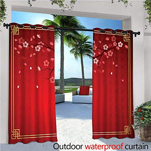 cobeDecor Red Balcony Curtains Flowering Branch of a Cherry Tree in Spring with Traditional Chinese Framework Outdoor Patio Curtains Waterproof with Grommets W96 x L108 Red Marigold Coral ()