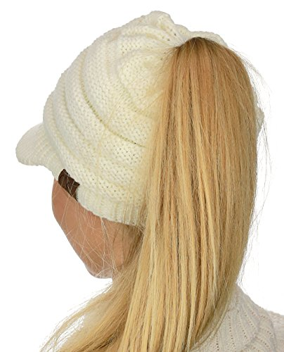 C.C BeanieTail Warm Knit Messy High Bun Ponytail Visor Beanie Cap, Ivory