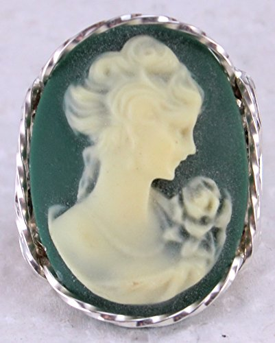 Fine Lady with rose Large Green Cameo .925 Sterling Silver Ring or 14k Gold gf Art Jewelry HGJ