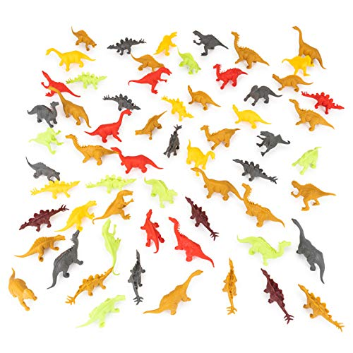 (Meklines Dinosaur Party Favors Set - Pack of 72 Assorted Style Mini Dinosaurs & Plastic Shrubbery for Kids - Bulk Dinosaur Toys Ideal for Birthday Parties, Exhibits & Displays.)