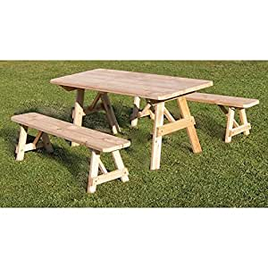 """A & L FURNITURE CO.Western Red Cedar 8' Traditional Table w/2 Benches - Specify for FREE 2"""" Umbrella Hole"""