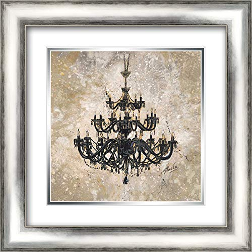 Onyx Chandelier 20x20 Silver Contemporary Wood Framed and Double Matted Art Print by Wiley, Marta G.
