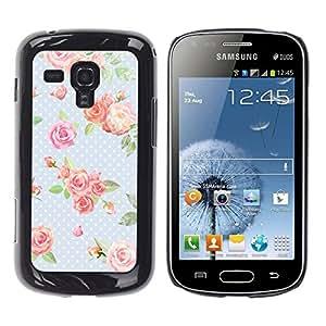TopCaseStore / la caja del caucho duro de la cubierta de protección de la piel - Dot Rose Baby Blue Green Retro - Samsung Galaxy S Duos S7562