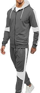 Domple Men's Tracksuit Jogger Pants 2PCS Active Hoodies Sets Color-Block