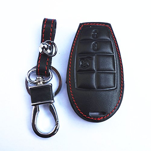 New Black Genuine Leather Remote Smart Key Chain Holder Cover Case Fob For Dodge Challenger Charger Magnum Durango Grand Caravan Ram 1500 2500 3500 4500 Jeep Commander Grand Cherokee Chrysler 300 (Ram Challenger)