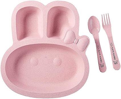AOLVO geteilte para niños Lovely Carton Plato Juego de Partida con Placa, Tenedor y Cuchara: Amazon.es: Hogar