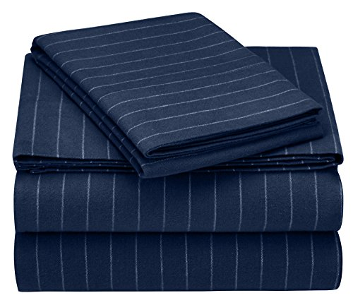 Pinzon 160 Gram Pinstripe Flannel Cotton Bed Sheet Set, Twin, Navy Pinstripe