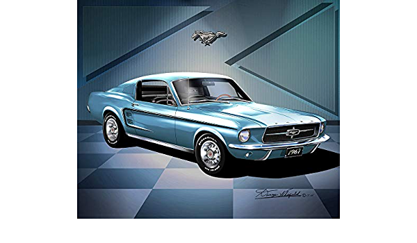 1967 Mustang Fastback Art Prints  comes in 10 different exterior color