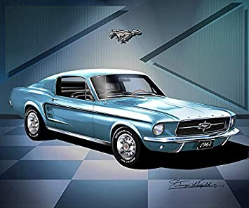1967 Mustang Fastback >> Amazon Com 1967 Mustang Fastback Brittany Blue Fine Art