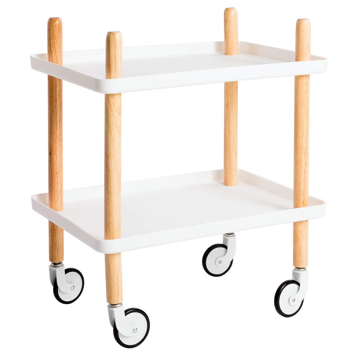 HollyHOME White Art Organizer Cart, 2-Tier Utility Service Cart Rolling Storage Shelves