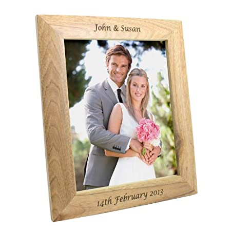 Personalised 10 X 8 Oak Wooden Photo Frame Any Name Message