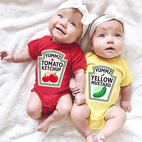 (Matching Couple Baby Twins Halloween Costume Tomato Ketchup Yellow Mustard for Baby Boys Girls Princess Prince Handmade Baby Bodysuit Short Sleeve/Long)