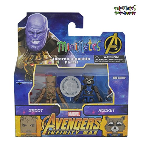 (Marvel Minimates Toys R Us Infinity War Movie Teenage Groot & Rocket Raccoon 2-Pack)