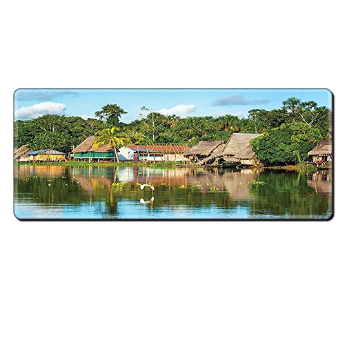 Mouse Pad Unique Custom Printed Mousepad Lake House Decor Collection Tropical Amazonian Riverside Village Huts Palm Trees Sunny Day Clouds Bird Rainforest Multi Stitched Edge Non Slip Rubber