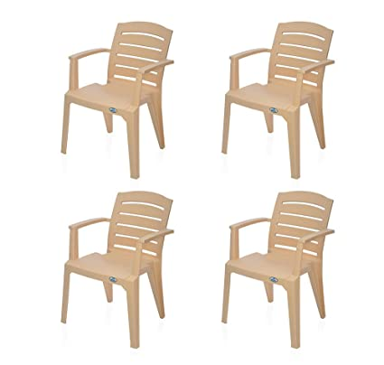@Home by Nilkamal Passion Garden Set of 4 Chair (Biscuit)