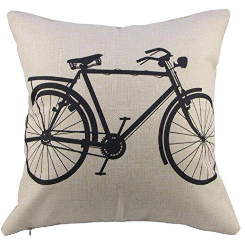 Pillow Covers Decorative 18x18 , Linen Sofa Cushion Case with Zipper ,Retro Bike Pattern Style Pillowcases