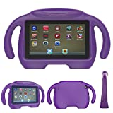 Fire 7 2017 Kids Case, Fire 7 2015 Kids CaseTUYOO Kids Friendly Hand-Free Cartoon Case with 3D Stand for All New Amazon Fire 7 Tablet (7'' Display, 2015&2017 Release) (Grape Purple)