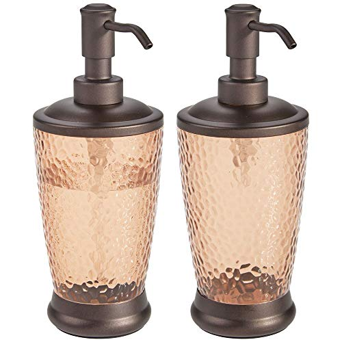 mDesign Textured Plastic Refillable Liquid Soap Dispenser Pump Bottle for Kitchen Sink, Bathroom Vanity Countertops - Holds Hand Soap, Dish Soap, Hand Sanitizer & Essential Oils - 2 Pack - Sand/Bronze