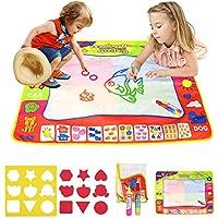 BelleStyle Doodle Tappeto, 4 Colori Magico Acqua Disegno Pittura Scrittura Mat con 2 Penne Magiche & 9 Stampi per Bambini di età Superiore ai 2 Anni, Regalo Educativo per Bambini 80cm x 60cm