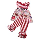 Children Girls Summer Print Cartoon Animal Ruffle Dress Pants Outfits Boutique Clothing Set 2T