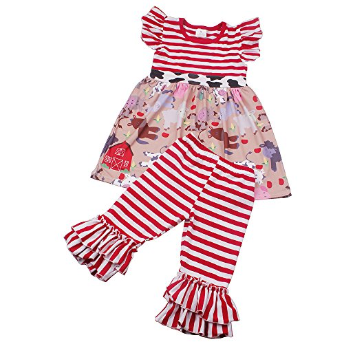 Children Girls Summer Print Cartoon Animal Ruffle Dress