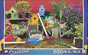 Puzzlebug 500 piece jigsaw puzzle colorful garden tools for Gardening tools crossword